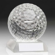 Clear Glass Golf Ball Trophy