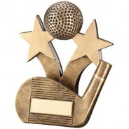 Bronze/Gold Golf Wedge and Ball with Stars Trophy