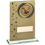 Gold/Black Printed Glass Rectangle with Golf Insert Trophy