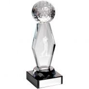 Clear Glass Lasered Golf Column on Black Base Trophy