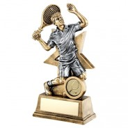 Bronze / Gold Male Tennis Figure with Star Backing Trophy