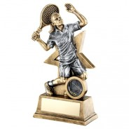 Bronze / Gold Female Tennis Figure with Star Backing Trophy