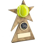 Bronze/Gold/Yellow Tennis Star on Pyramid Base Trophy