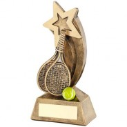Bronze/Gold/Yellow Tennis Rackets/Ball with Shooting Star Trophy