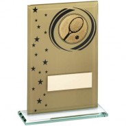Gold/Black Printed Glass Rectangle with Tennis Insert Trophy