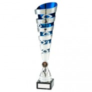 Silver/Blue Plastic Spiral & Eyelet Trophy