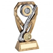 Bronze/Pewter/Gold Shooting Rifle And Clay On Diamond Trophy
