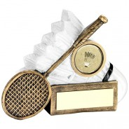 Bronze/White Badminton Shuttlecock And Racket Chunky Flatback Trophy