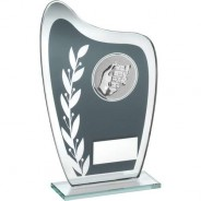 Grey/Silver Glass Plaque with Dominoes Insert Trophy
