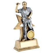 Bronze / Gold Male Darts Figure with Star Backing Trophy