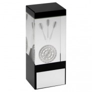 Clear/Black Glass Block With Lasered Darts Image Trophy