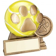 Bronze / Gold 3D Mini Tennis Ball With Dog Paw Trophy