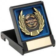 Black/Blue Plastic Box and Gold Trim Trophy