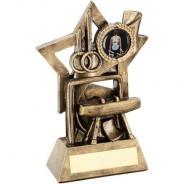 Bronze/Gold Gymnastics on Star Backdrop Trophy