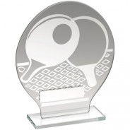 Jade Glass Round Plaque With Silver Table Tennis Design Trophy