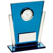 Blue/Clear Glass Tapered Rectangle Clock Trophy