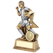 Bronze Male Rugby Figure With Star Backing Trophy