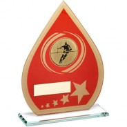 Red/Gold Printed Glass Teardrop with Rugby Insert Trophy