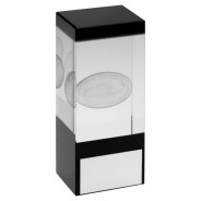 Clear/Black Glass Block With Lasered Rugby Image Trophy