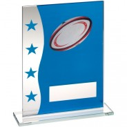 Blue/Silver Printed Glass Plaque With Rugby Ball Image Trophy