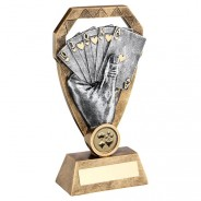 Bronze/Pewter/Gold Cards In Hand On Diamond Trophy