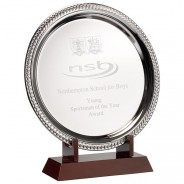 Silver Plated 'Laurel' Salver On Wooden Stand