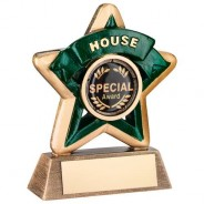 Mini Star 'House' Trophy - Bronze/Gold/Green
