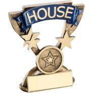 Bronze/Gold School House Mini Cup Trophy - Blue