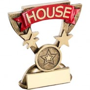 Bronze/Gold School House Mini Cup Trophy - Red