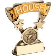 Bronze/Gold School House Mini Cup Trophy - Yellow