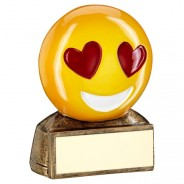 Yellow Heart Eyes Emoji Trophy