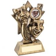 Bronze/Gold Drama Masks on Star Backdrop Trophy