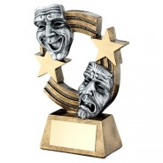 Bronze / Pewter Drama Masks with Stripes and Stars Trophy