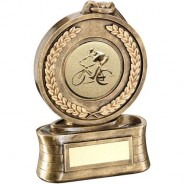 Bronze/Gold Medal and Ribbon with Cycling Insert Trophy