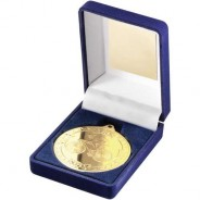 Blue Velvet Box and 50mm Medal Cycling Trophy