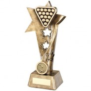 Bronze/Gold Pool/Snooker Twisted Star Column Trophy