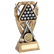 Bronze/Pewter/Gold Pool/Snooker Balls With Cues On Diamond Trophy