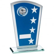 Blue/Silver Printed Glass Shield with Pool/Snooker Insert Trophy