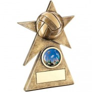 Bronze / Gold Volleyball Star on Pyramid Base Trophy