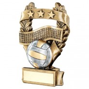 Bronze / Pewter Volleyball 3 Star Wreath Trophy
