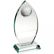 Jade Glass Plaque With Half Volleyball Trophy