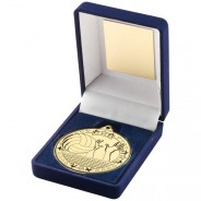 Blue Velvet Box and 50mm Volleyball Medal