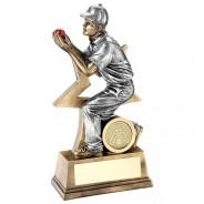 Bronze Cricket Fielder Figure With Star Backing Trophy