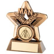Bronze/Gold Man of the Match Mini Star Trophy