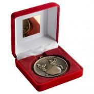 Red Velvet Box and 60mm Cricket Medal