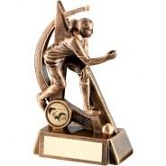 Bronze/Gold Female Lawn Bowls Geo Figure Trophy