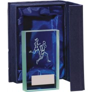 Running Glass Block Trophy
