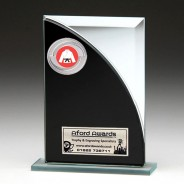 Black & Silver Glass Award with Martial Arts Insert
