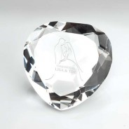 Glass Heart Shaped Paperweight in Box