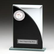 Black & Silver Glass Award with Poker Insert